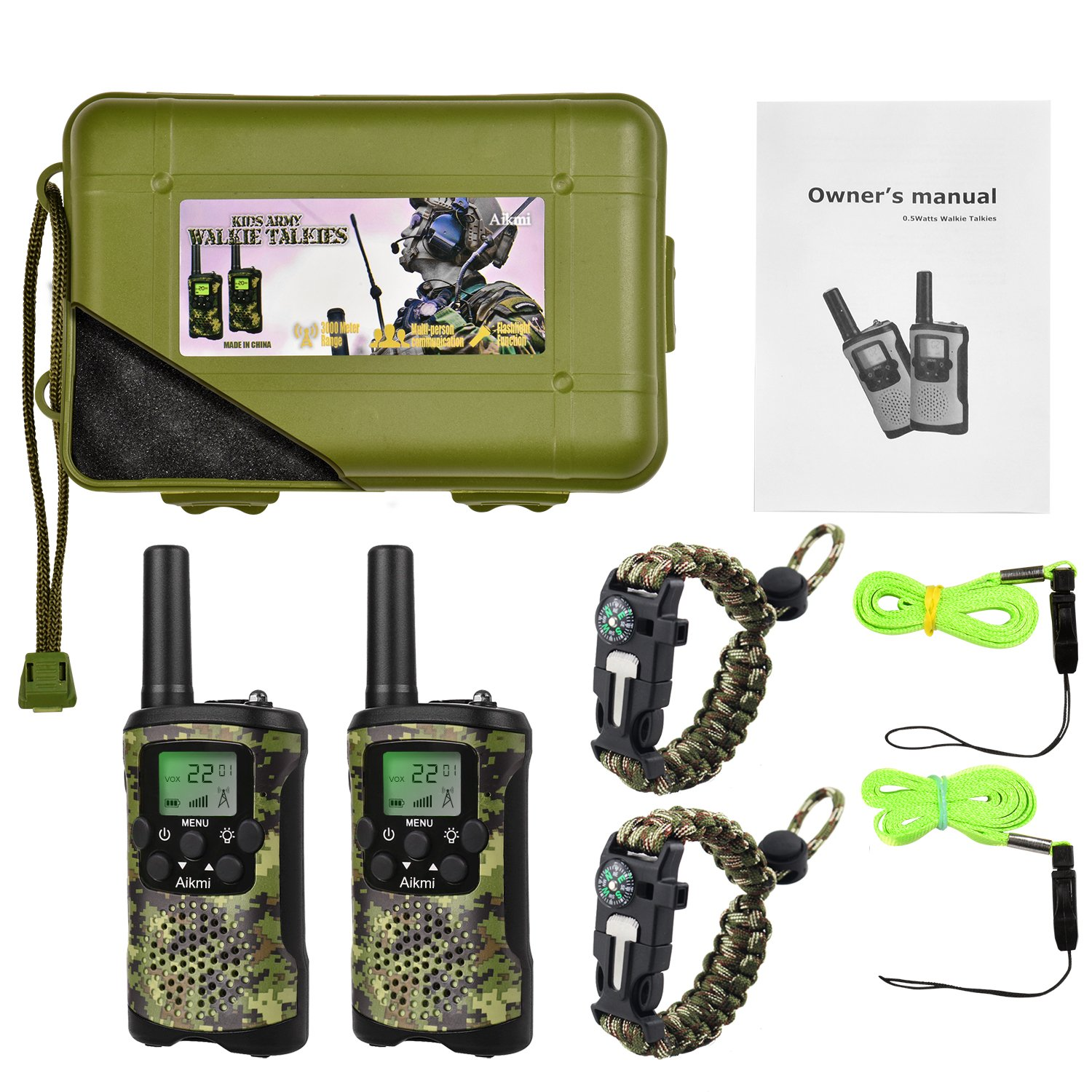 Walkie Talkies for Kids 22 Channel 2 Way Radio 3 Miles Long Range Handheld Walkie Talkies Durable Toy Best Birthday Gifts for 6 year old Boys and Girls fit Outdoor Adventure Game Camping (Green Camo) by Aikmi (Image #7)