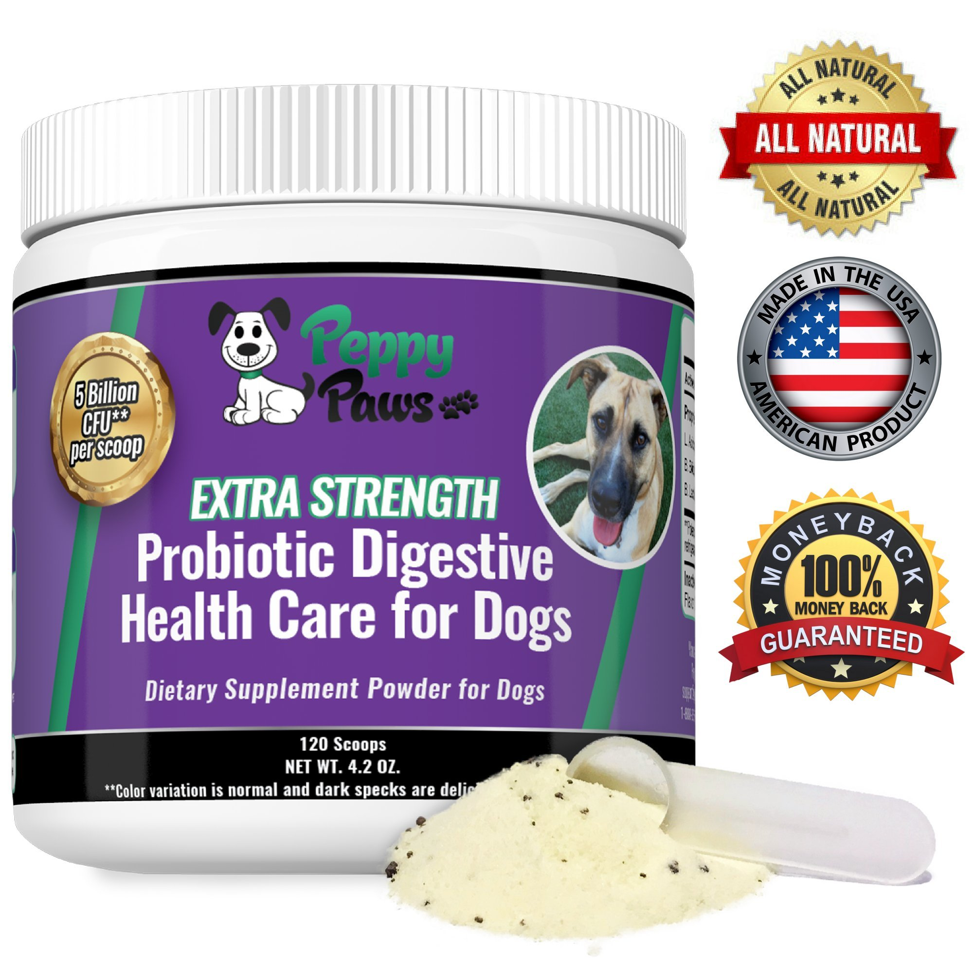 Best Probiotics for Dogs with Acidophilus Improves Dog Constipation, Gas, Dog Diarrhea, Bad Breath, Allergies, All Natural Dog Probiotic Powder, 5 Billion CFUs, Probiotics for Puppies to Seniors