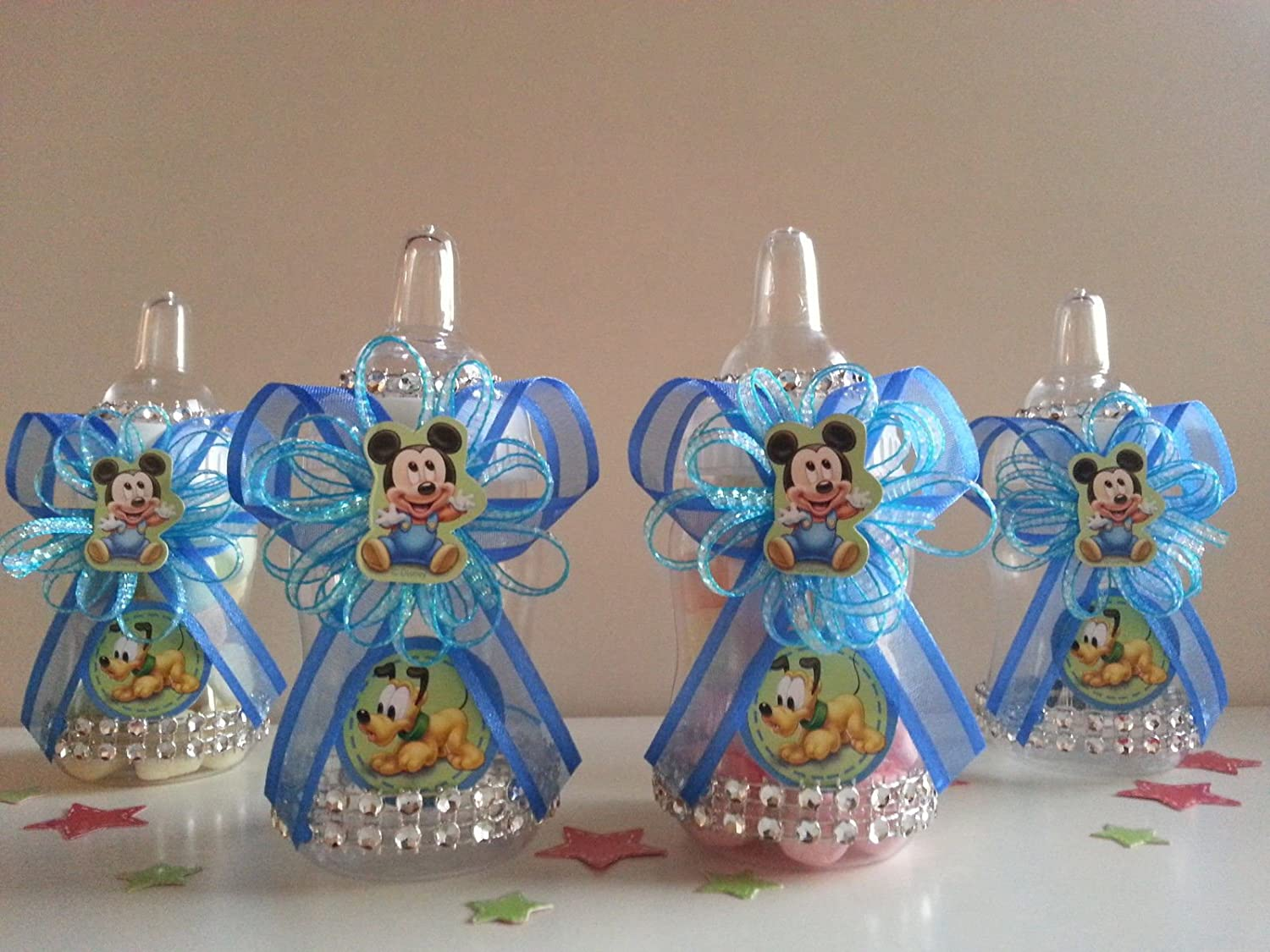 12 Baby Mickey Mouse Fillable Bottles Baby Shower Favors Prizes Boy Decorations Product789