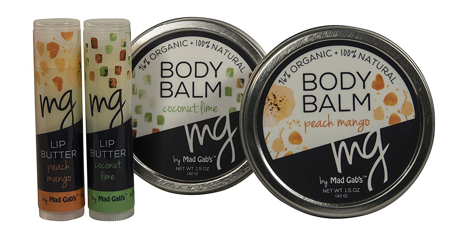 Mad Gab's MG Signature 4-Piece Natural & Organic Coconut-Lime/Mango/Peach Balm & Lip Butter Sticks Gift Set