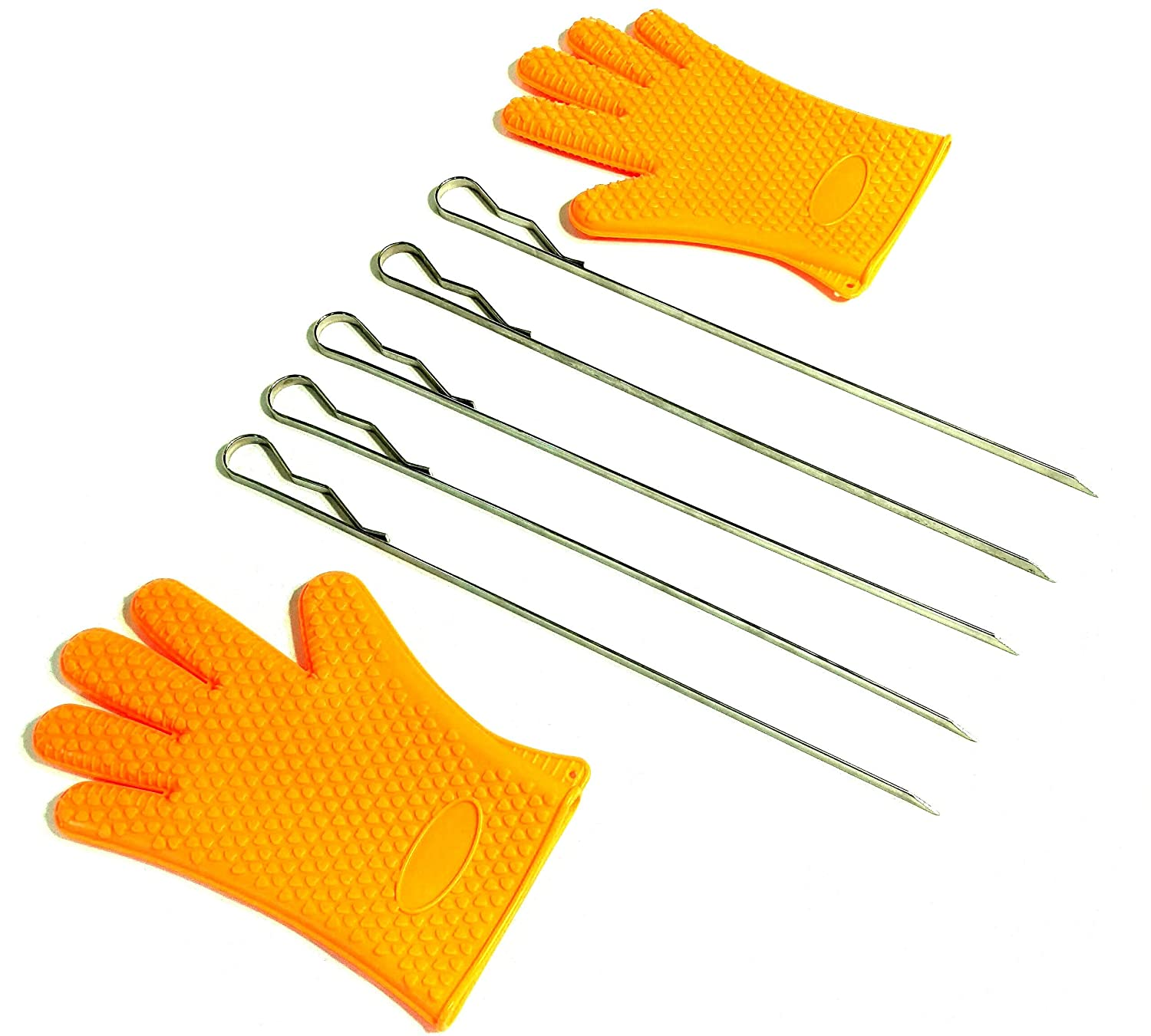 """Stainless Steel BBQ Skewers for grilling w 2 BBQ Gloves 