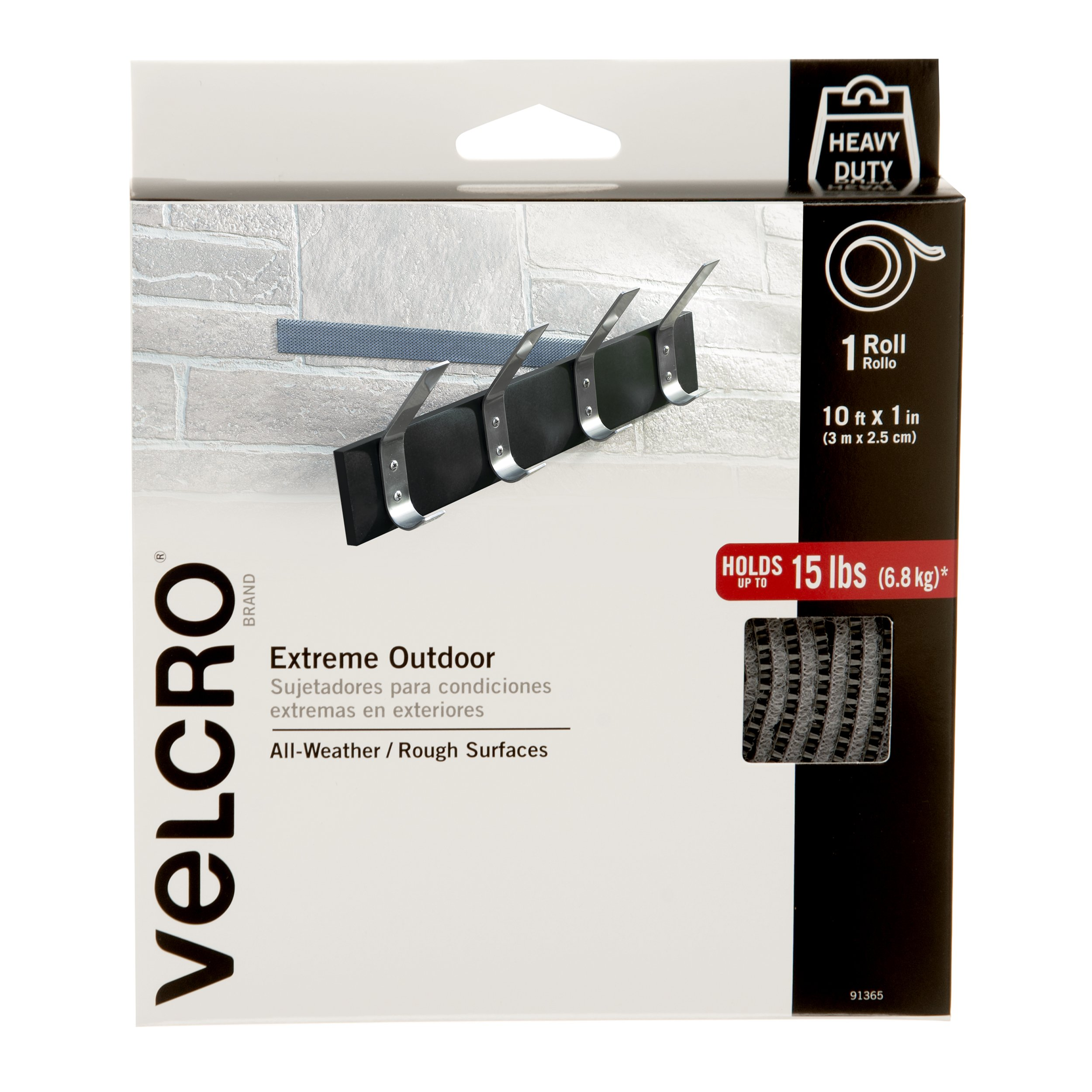 VELCRO Brand - Industrial Strength Extreme Outdoor   Heavy Duty, Superior Holding Power on Rough Surfaces   Tape – 10ft x 1in   Titanium