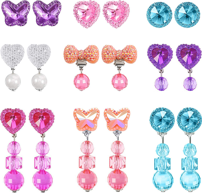 Hot Pink Acrylic Handmade Clip-On Drop Statement Earrings UK SELLER