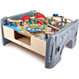 Hape E3766 70 Piece Railway Train Table and Set Toy with Battery Powered Locomotive with Removable Playmat Surface and Storag