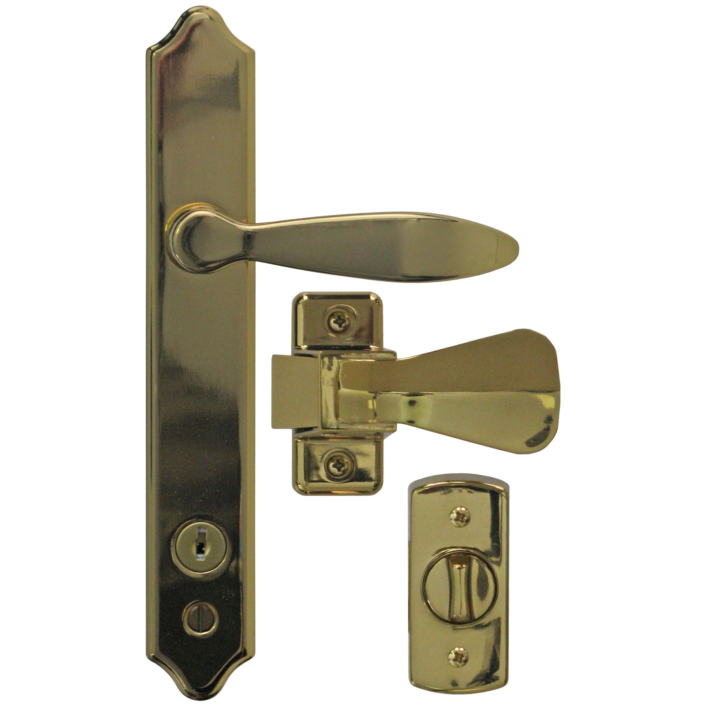 Ideal Security ML Lever Set for Storm and Screen Doors With Keyed Deadbolt Brass E-coat