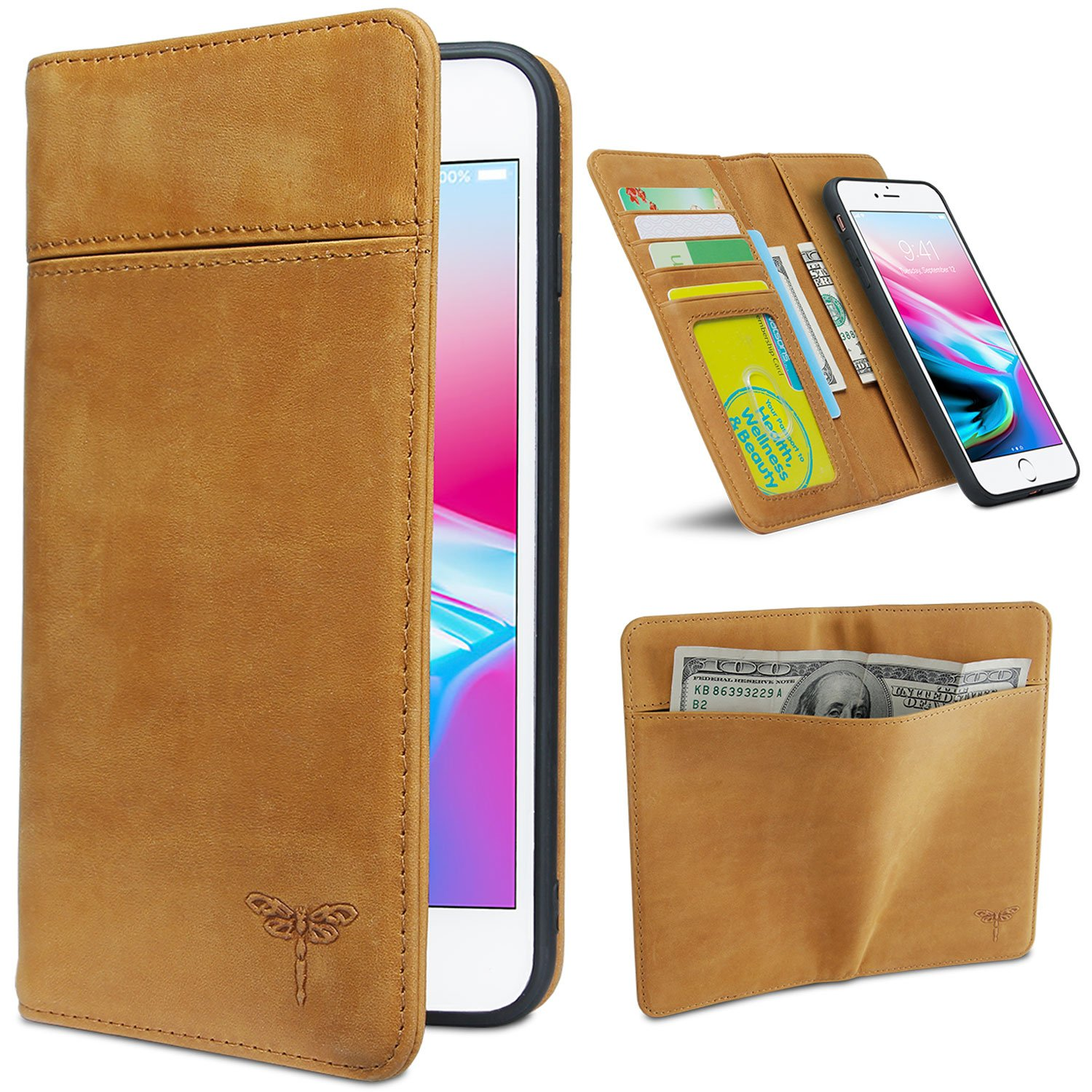 Compatible with iPhone 8 Plus Case, iPhone 7 Plus Case Wallet, FRIFUN Magnetic Detachable Case iPhone 8 Plus Real Cow Leather Handmade Cover, Flip Case for iPhone 7 Plus /8 Plus Brown