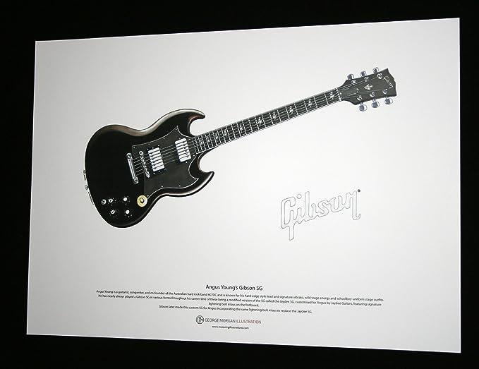 George Morgan Illustration Art Cartel de Gibson SG Guitarra de ...