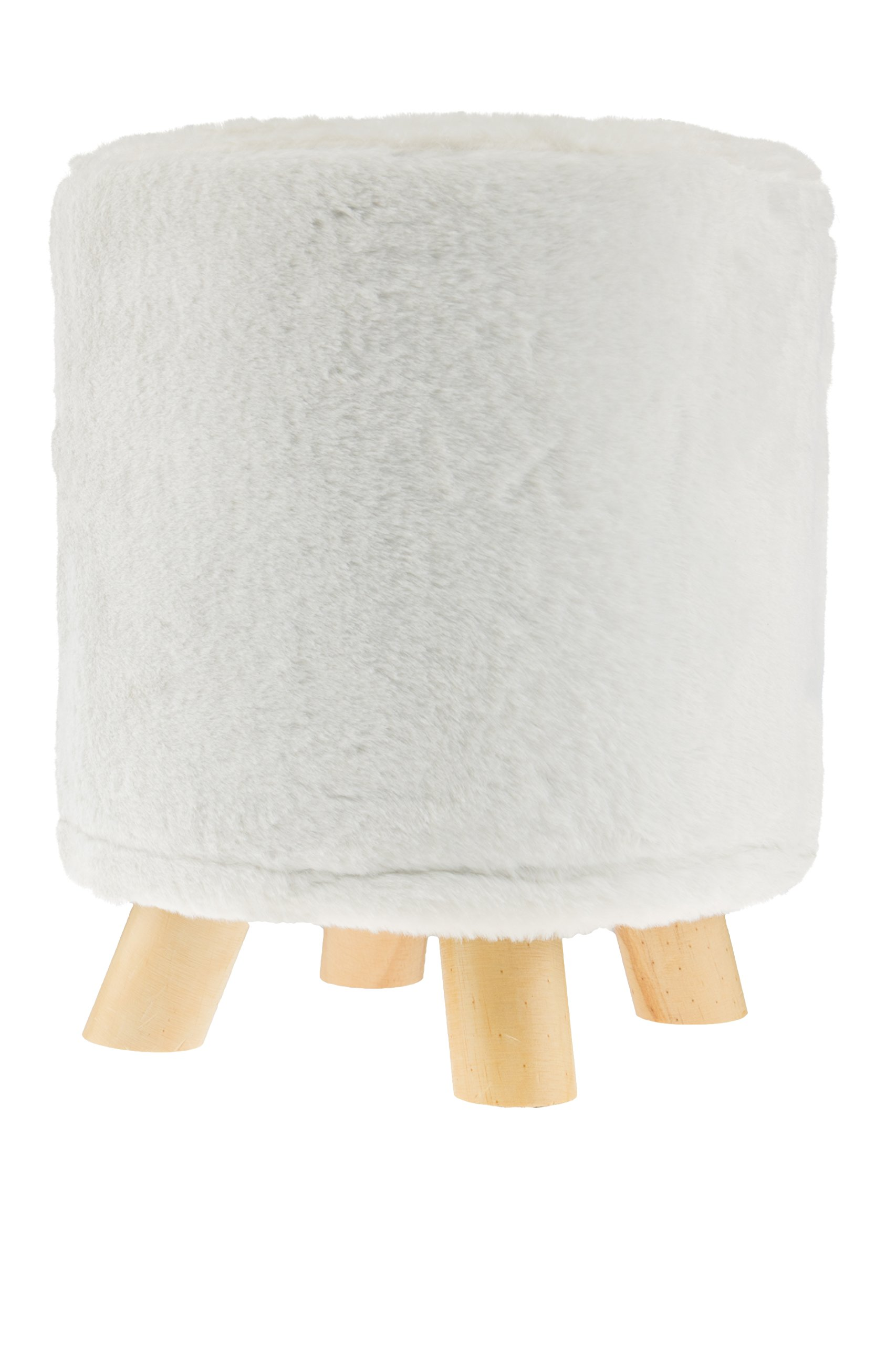 Premium White Ottoman with Faux Fur by Clever Creations   Round Foot Stool   Real Wood Legs   Stylish Trendy Décor   Perfect Size Stool for Any Room   Stands 12'' x 12'' x 13''