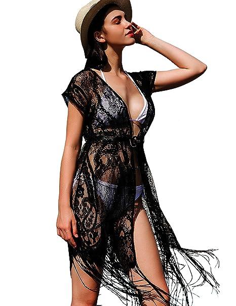 3142913663 SoulYoung Lace Kimono For Women Long Cover Up Summer Sexy Bikini Swimsuit  Beach Wear Coverup Swimwear