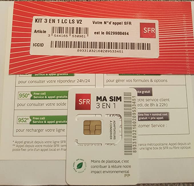 Prepaid Sim Card Pa83 Sfr Free 5 X20ac Available Amazon Co