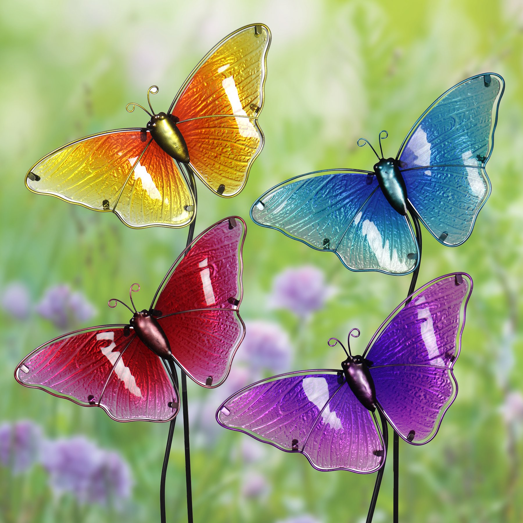 Exhart Butterfly Garden Stakes, Glass, Set of 4, Red Yellow Turquoise Purple, 8.75'' L x 1.25'' W x 26'' H by Exhart (Image #2)