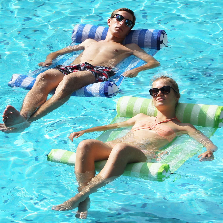 FindUWill 2-Pack(Blue,Green) Premium Swimming Pool Float Hammock, Multi-Purpose Inflatable Hammock (Saddle, Lounge Chair, Hammock, Drifter), Water Hammock Lounge