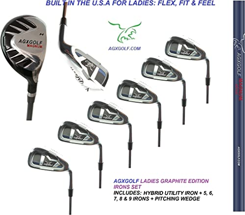 AGXGOLF Ladies, Right-Hand Magnum Graphite Iron Set 3 Hybrid 5-9 Irons Pitching Wedge Petite, Regular Tall Lengths Built in The USA
