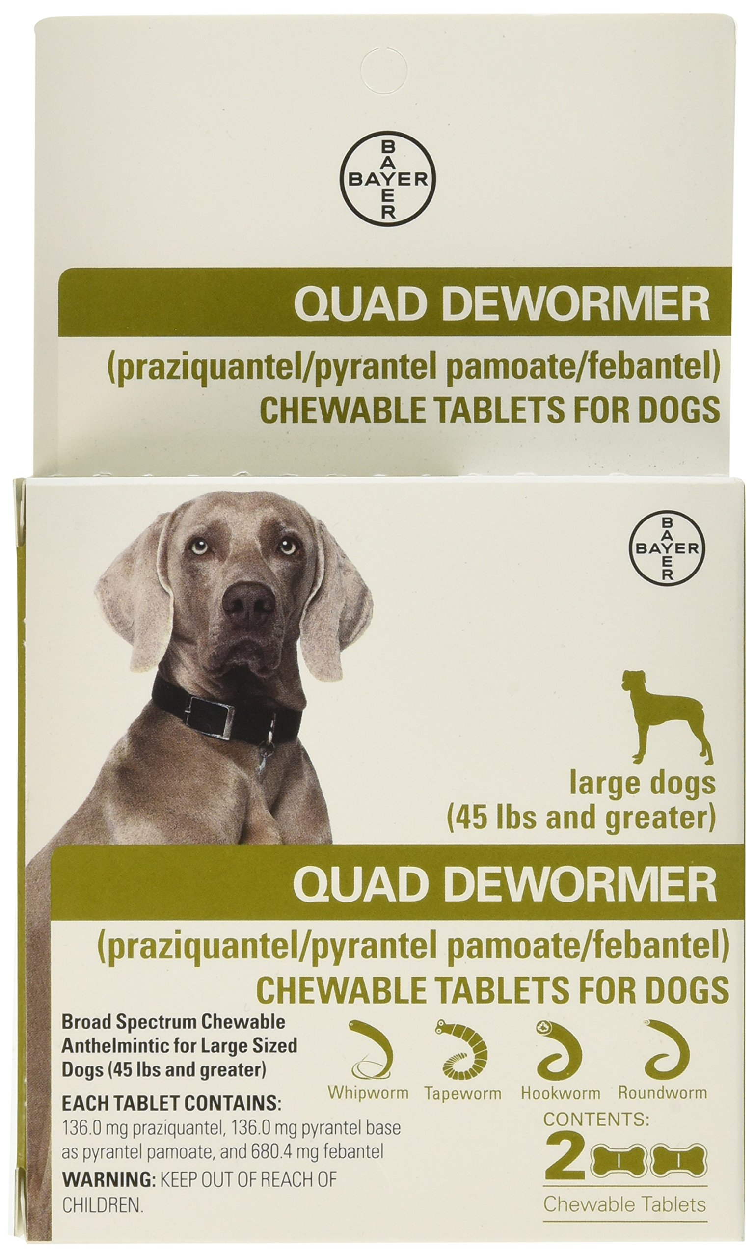 Bayer Animal Health Quad Dewormer Large Dogs (Over 45 lbs) 2 Chewable Tablets
