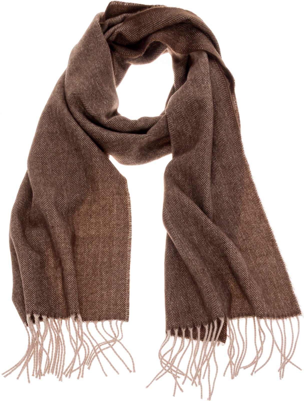 SilverHooks Soft & Warm Cashmere Scarf w/Gift Box (Brown Herringbone & Chevron)