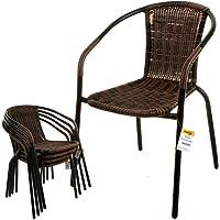 Marko Outdoor Chocolate Bistro Chair Garden Wicker Rattan Metal Frame Seats Indoor Outdoor