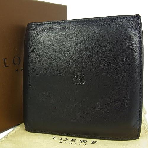 e44bf9b24344 (ロエベ) LOEWE メンズ アナグラム ナッパ レザー 二つ折り 財布 箱付き ブラック 24820eSaM 中古