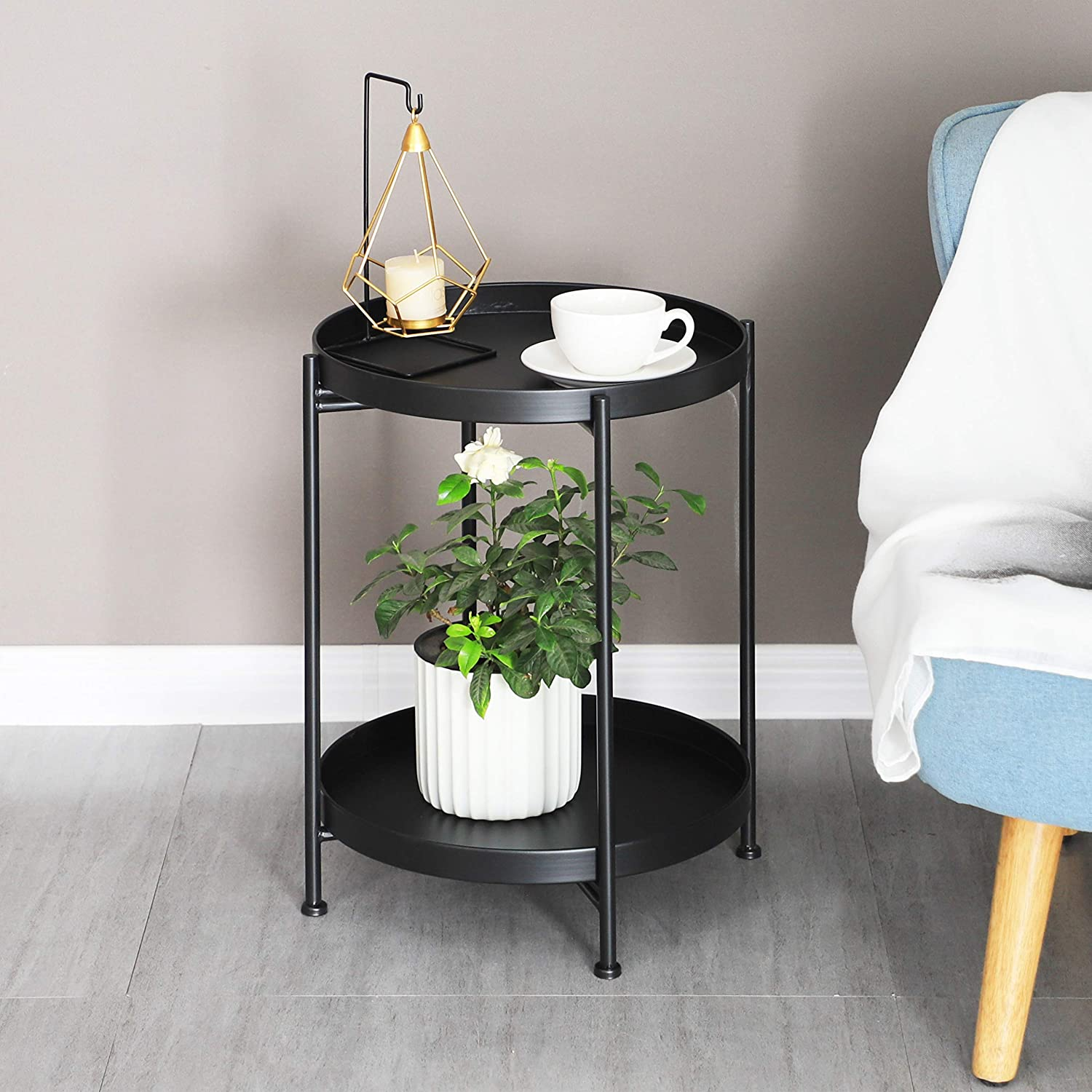 Round Side End Table 2 Layer Sofa Table Metal Corner Coffee Snack Tray Table Snack Accent Table Anti-Rusty for Outdoor and Indoor Use Black