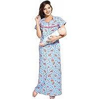 Soulemo Women's Pure Cotton Feeding Nighty/Maternity Dress for PRE & Post Pregnancy 399