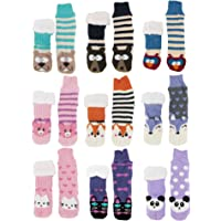 BambooMN Extra Thick Cozy Fuzzy Animal Thermal Cabin Plush Fleece-lined Knitted Crew Socks