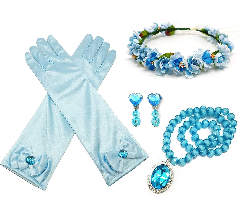 ALEAD Girls Long Satin Princess Dress Up Diamonds Bows Gloves for Kids (blue set)
