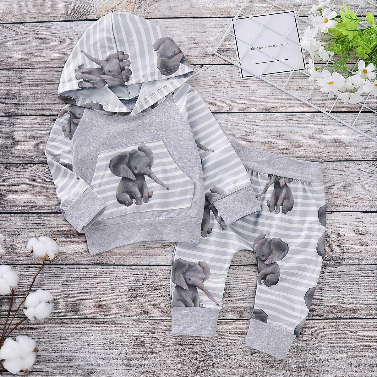 FAROOT Infant Toddler Boy Girl Hoodie Outfit Elephant Long Sleeve Hooded Top Sweatshirt+Casual Harem Pants Set