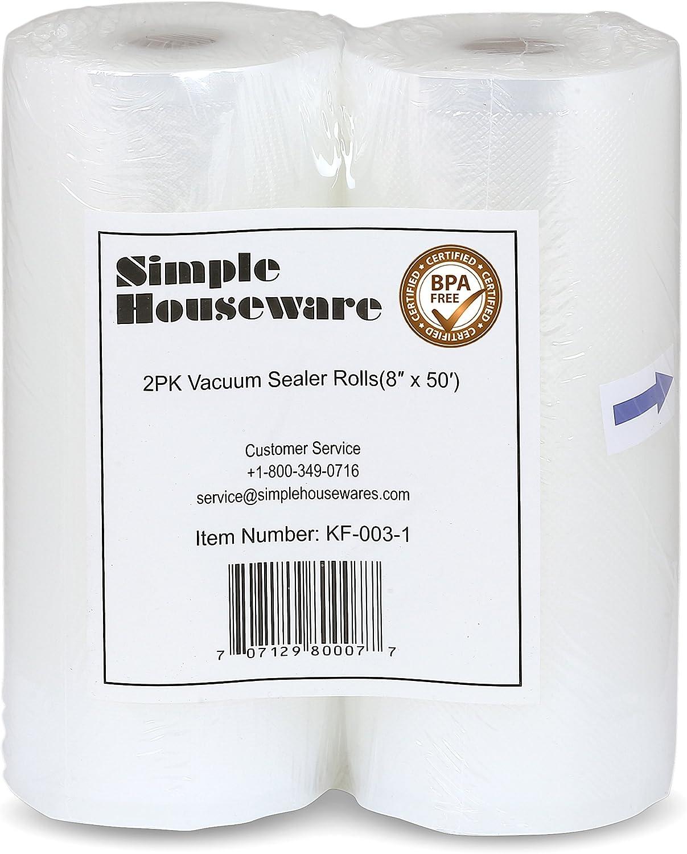 2 Pack - Simple Houseware 8'' x 50 Feet Vacuum Sealer Rolls Bags (total 100 feet)