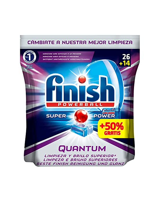 Finish Quantum Regular Pastillas para Lavavajillas - 26 + 14 pastillas: Amazon.es: Salud y cuidado personal
