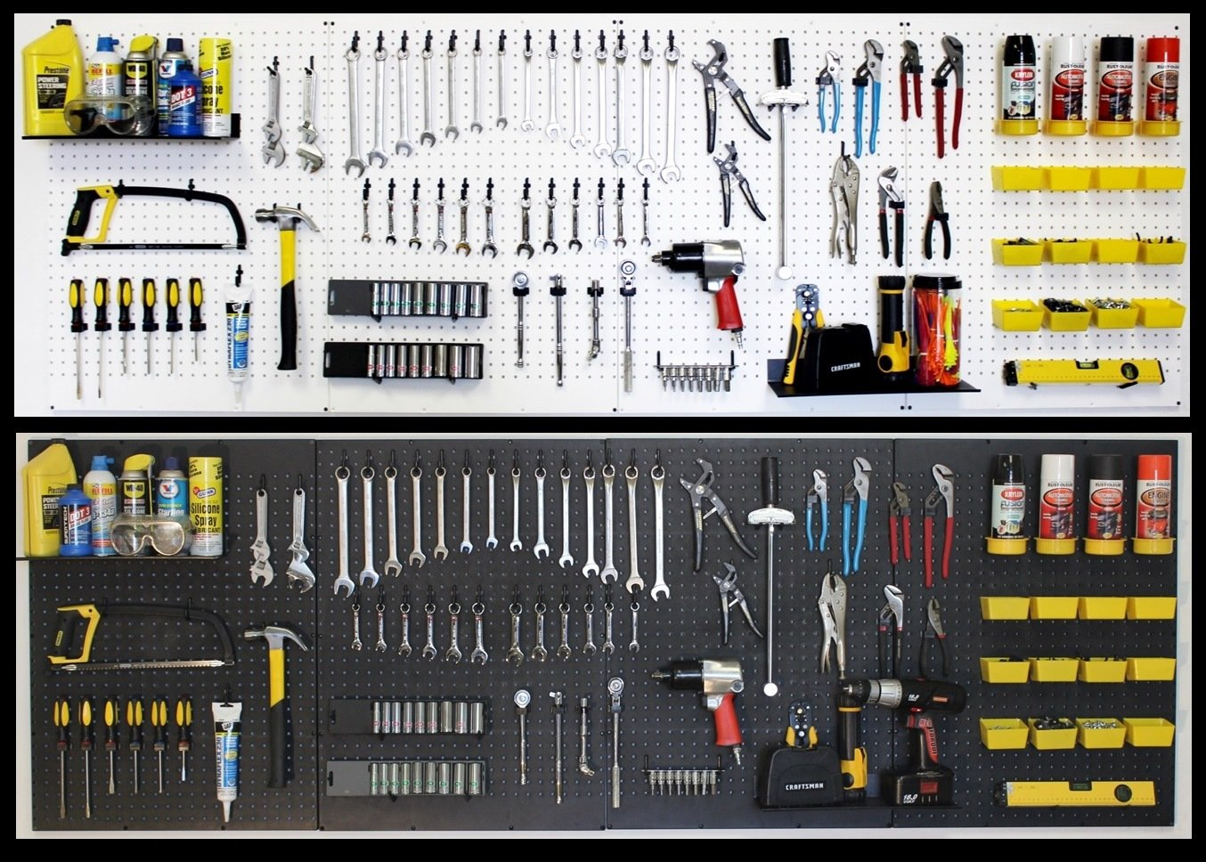 WallPeg pegboard Panels, Shelves, Bins, Locking peg Hooks Garage Storage kit 96 W-B (Black) by WallPeg