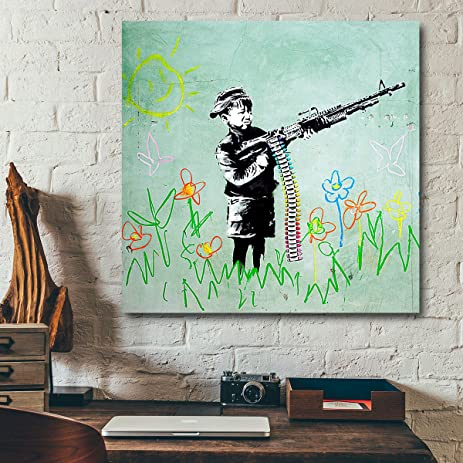 Banksy Print Crayon Shooter Boy With Gun Large Size Wall Art