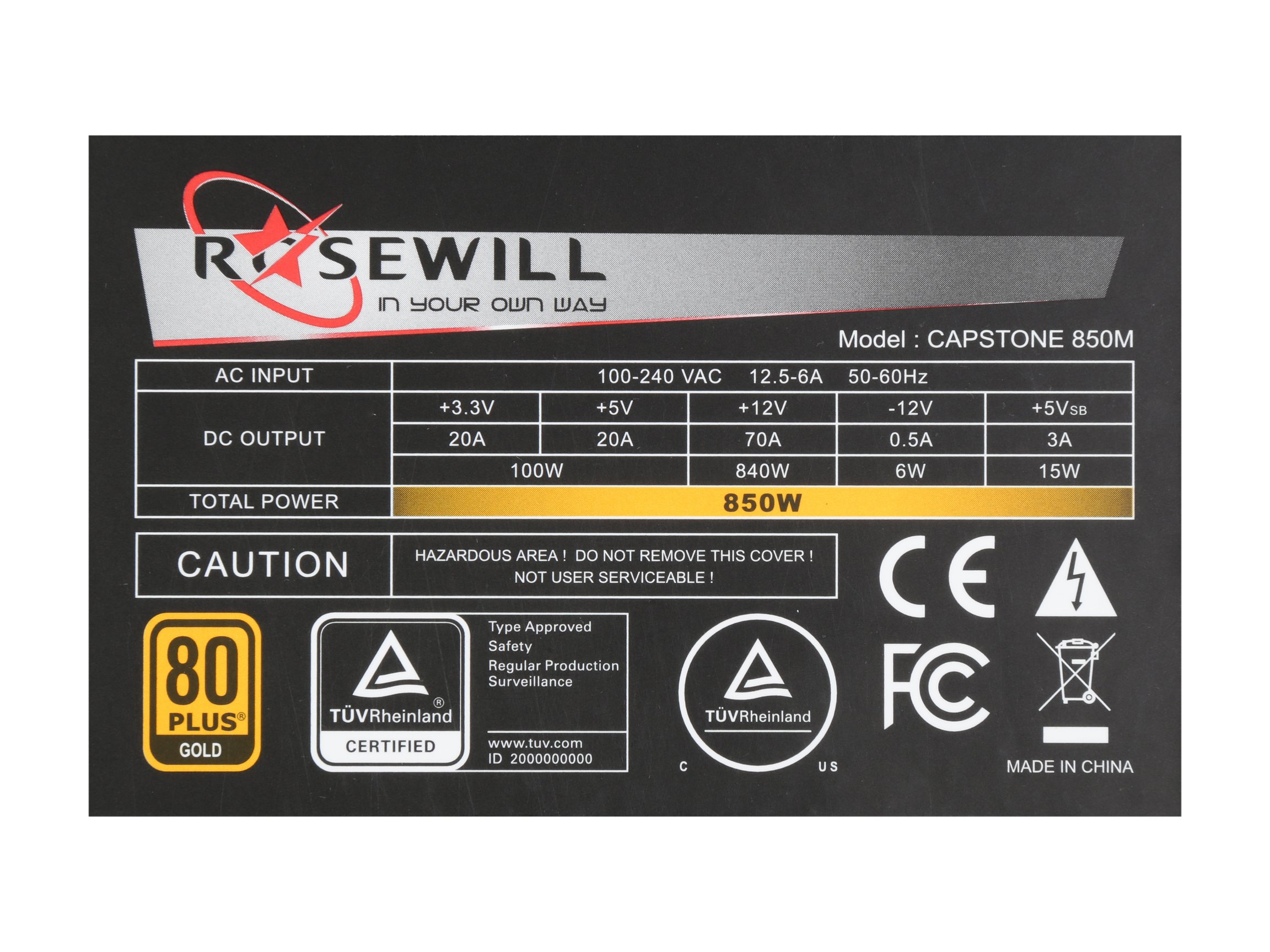 ROSEWILL Gaming 80 Plus Gold 850W Power Supply / PSU, CAPSTONE Series 850 Watt 80 PLUS Gold Certified PSU with Silent 135mm Fan and Auto Fan Speed Control, 7 Year Warranty by Rosewill (Image #6)