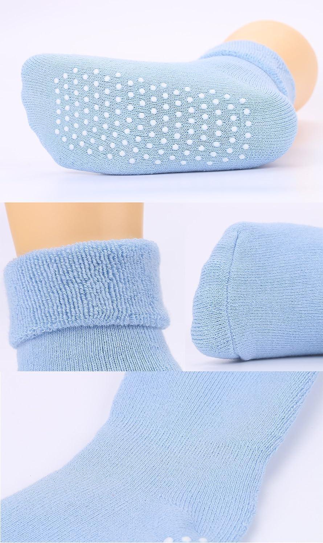 VWU Lot de 6 Paires Unisexe Bebes Infant Chaud et /épais Antiderapants Chaussons Chaussettes de Manchette Ray/ées Nouveau-N/és B/éb/é Chaussettes en Coton 1-3 Ans