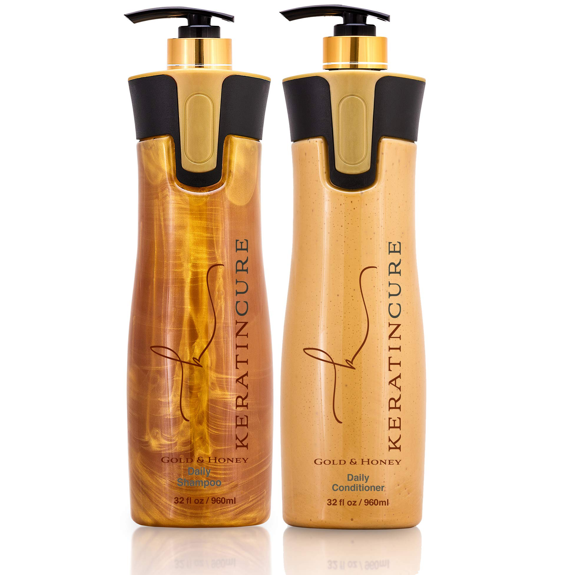 Keratin Cure Brazilian Gold and Honey daily use Shampoo Conditioner Set Bio with Argan oil SULFATE FREE protect Color Enhance Hair Growth (960ml/ 32 fl oz) for keratin treated hair by Keratin Cure