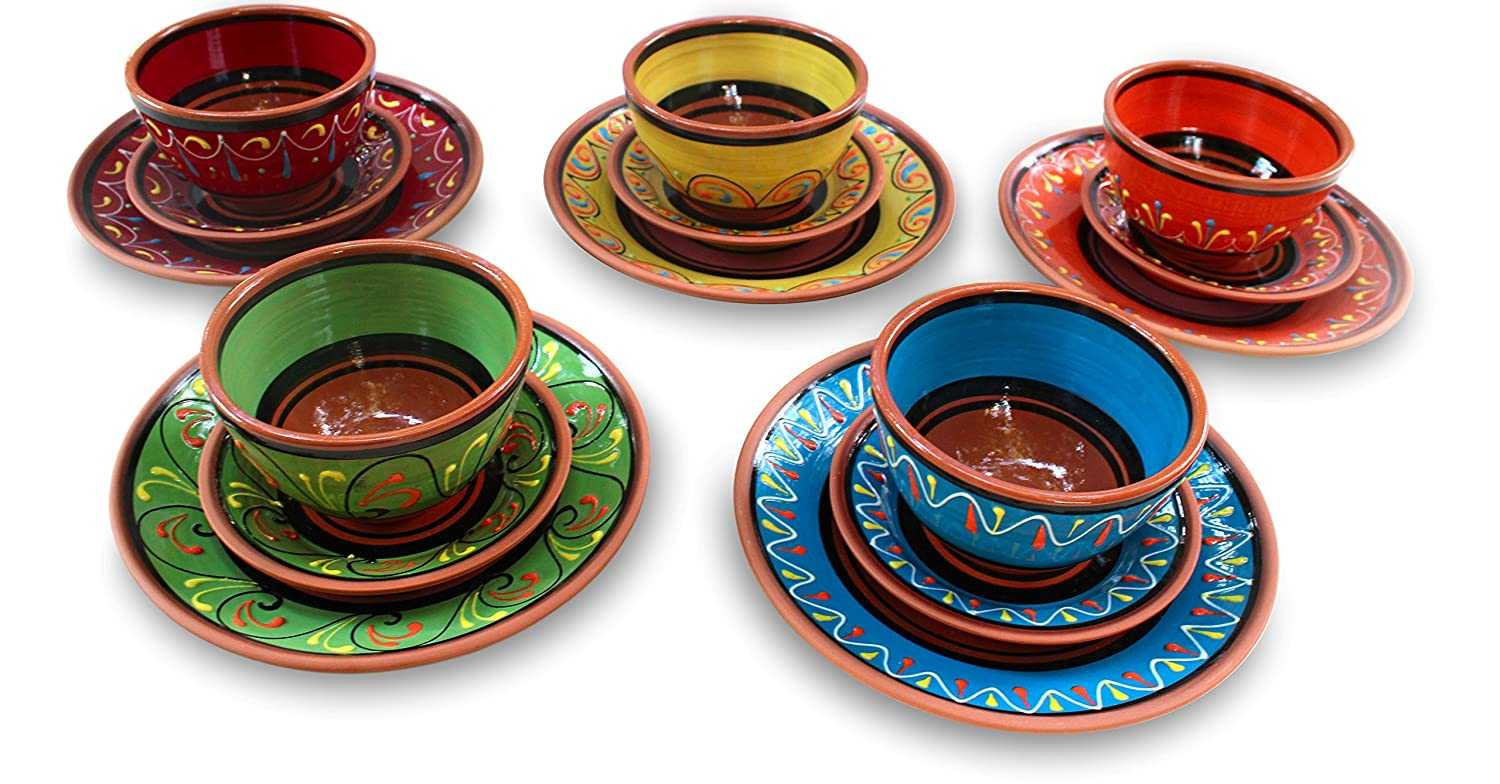 Amazon.com | SMALL Terracotta Tapa Plates Set of 5 - Hand Painted From Spain Salad Plates  sc 1 st  Amazon.com & Amazon.com | SMALL Terracotta Tapa Plates Set of 5 - Hand Painted ...