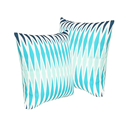 "Xanthe Outdoor Cushions, 17.75"" Square, Geometric Pattern, Cream, Dark Teal, Turquoise, Light Blue (Set of 2) : Garden & Outdoor"