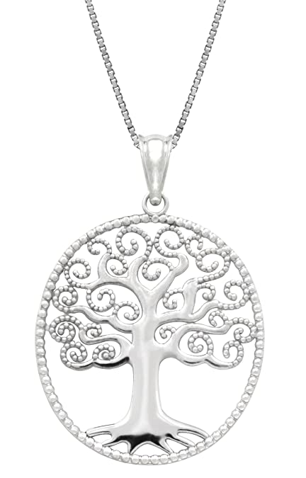Sterling Silver Tree of Life Necklace Pendant with 18