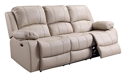 Oliver Pierce OP0064 Bradley Leather, Power Reclining Sofa, Beige