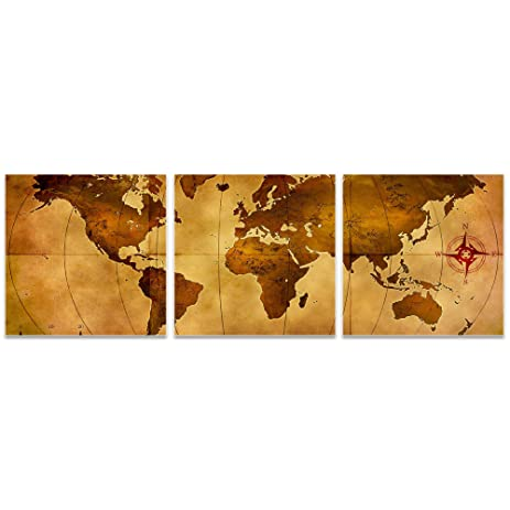 Amazon world map art old world map triptych by alan rodriguez world map art old world map triptych by alan rodriguez rustic wall decor gumiabroncs Gallery
