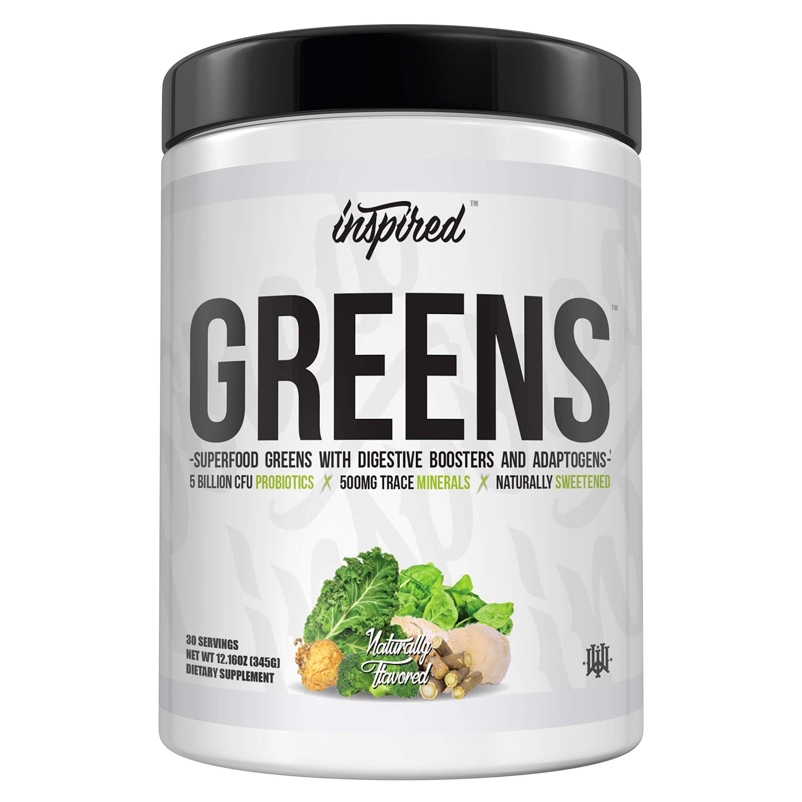 Inspired Nutraceuticals Greens+ | Superfood Greens with Digestion Booster, Adaptogen, Probiotics, Spirulina, Chlorella, Ashwagandha, Maca, Stinging Nettle, Lion's Mane, Dandelion, Kale | Unflavored by Inspired Nutraceuticals
