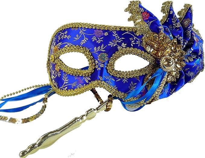 Amazon.com: Floral Mardi Gras Máscara de raso en Stick Mardi ...