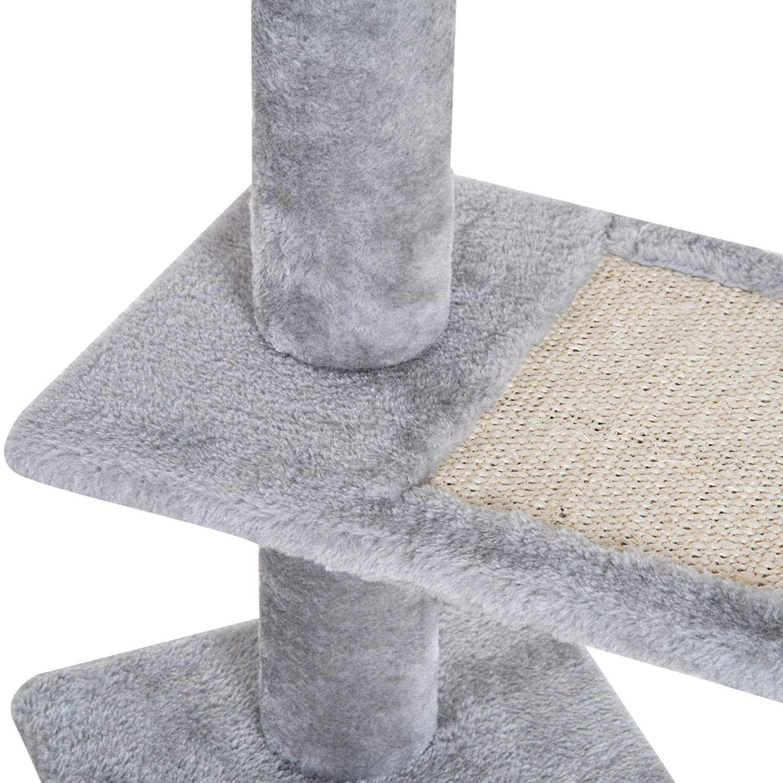 PawHut Rascador para Gatos /Árbol Rascador Centro de Actividad 3 Plataformas para Ara/ñar 48x48x101cm Tablero de part/ículas Cubierta de Felpa Sisal
