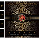 Phosphor Bronze Pack of Acoustic Guitar Strings Full/Set 10s/11s/12s (10s Gauge Extra Light 0.10 010)