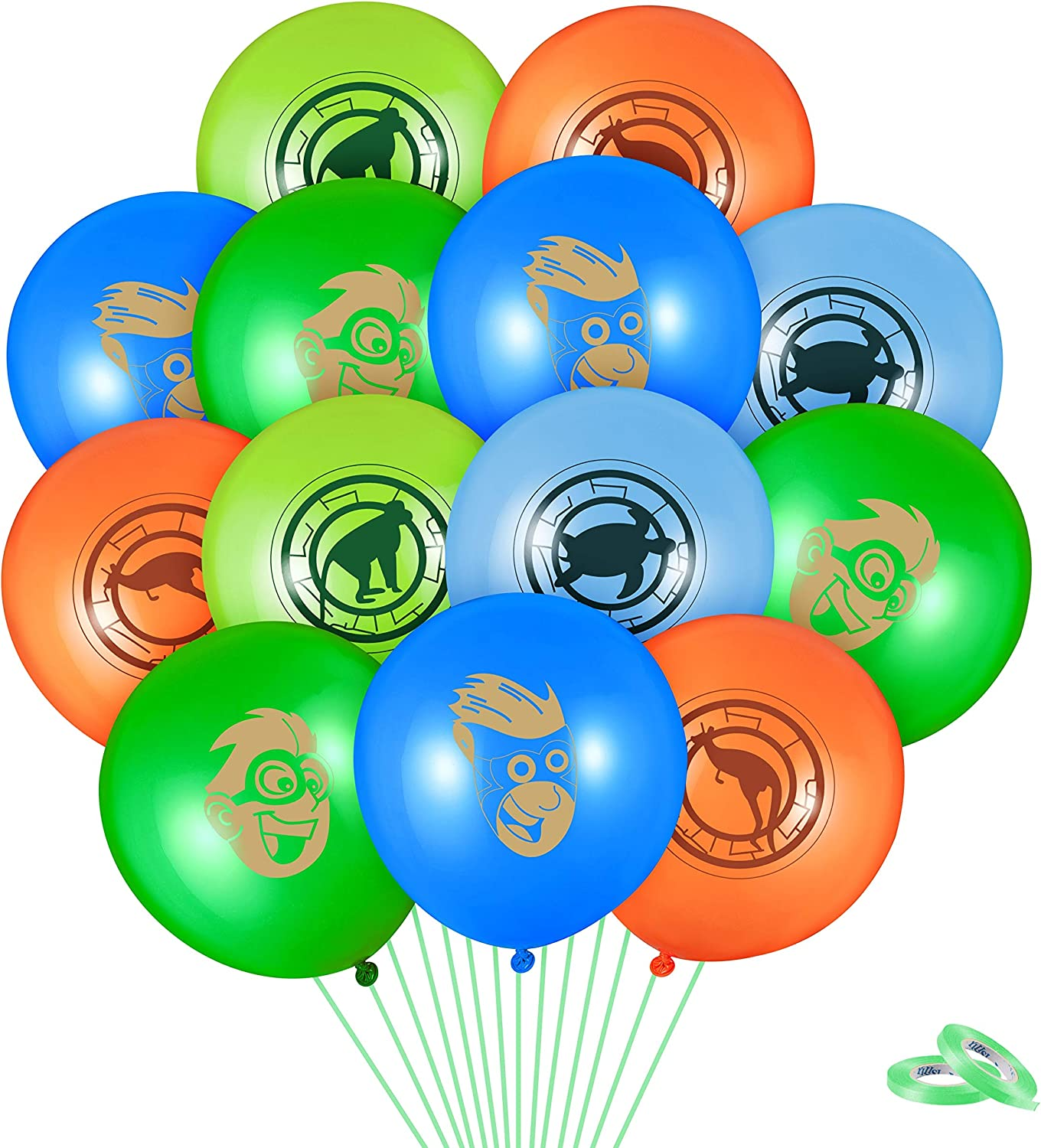 HAOORYX 50Pcs Wild Creature Party Decoration Latex Balloons Kit with 2 Rolls Ribbon, Chris and Martin 12 Inches Latex Printed Balloon for kids Theme birthday Parties, Baby Shower Decor Favor Supplies