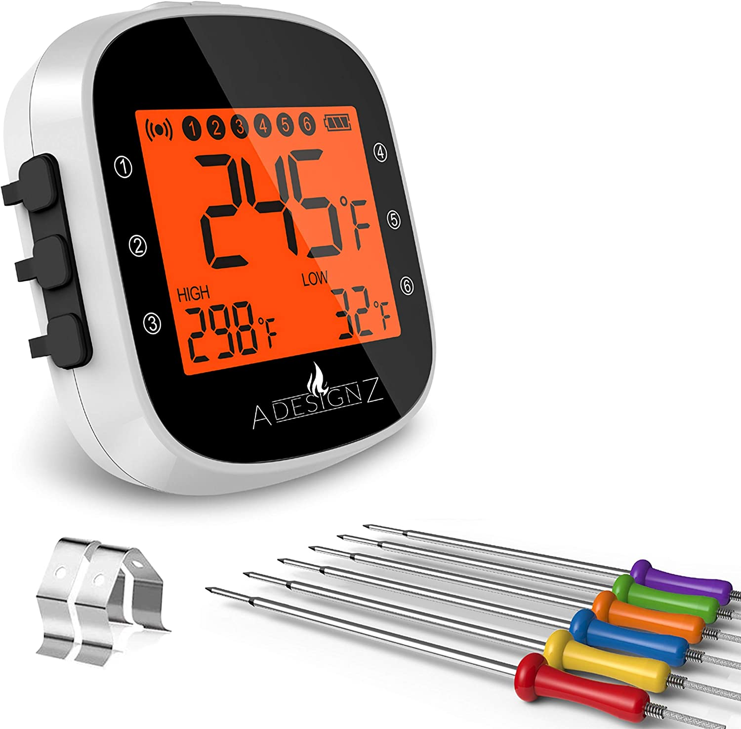 AdesignZ 6 Probe Wireless Meat Thermometer - Sleek Pearl White Cooking, Smoker & BBQ Thermometer Upgraded Long-Range Bluetooth Capability - Rechargeable Digital Waterproof Grill Meat Probe Thermometer