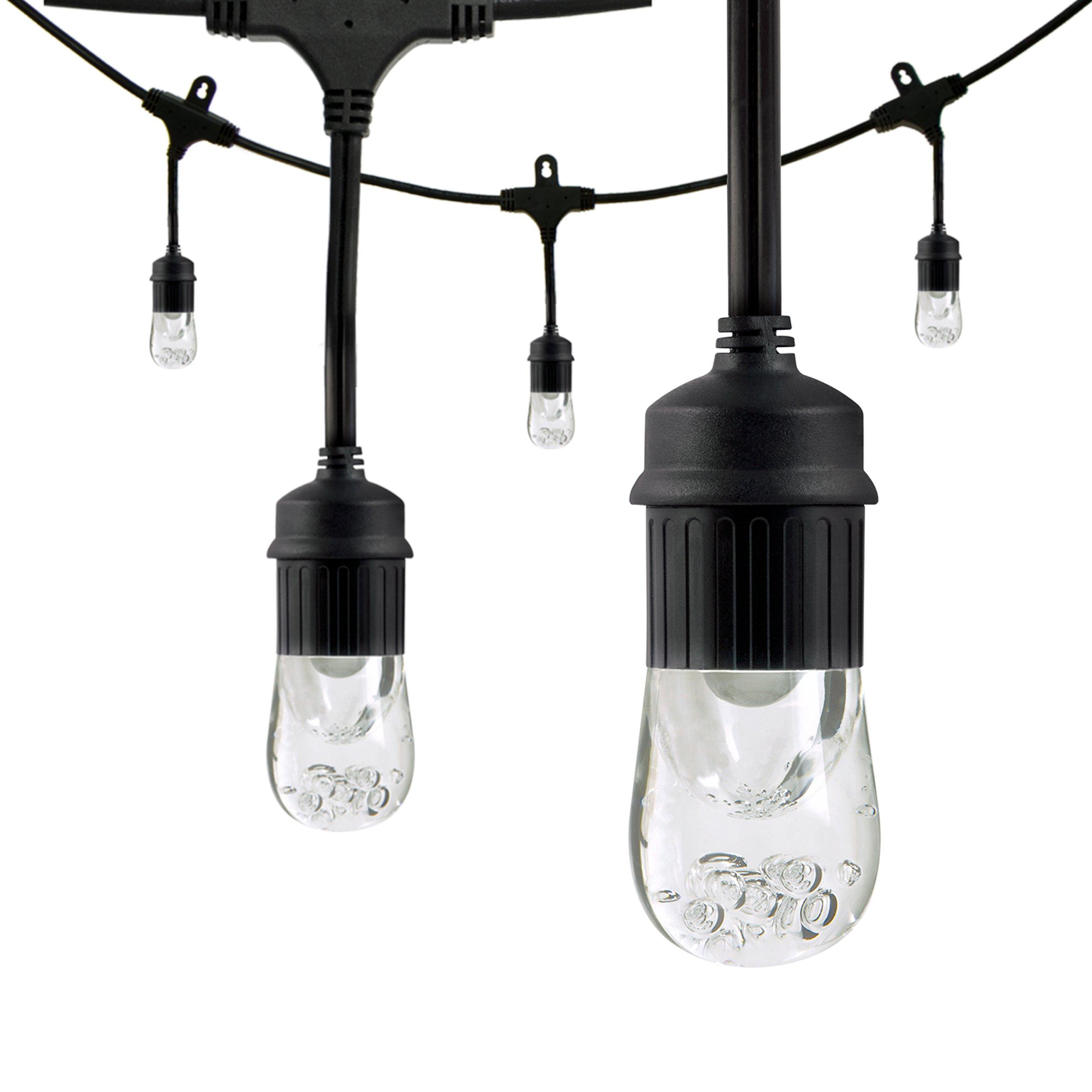 Enbrighten Classic LED Cafe String Lights, Black, 48 Foot Length, 24 Impact Resistant Lifetime Bulbs, Premium, Shatterproof, Weatherproof, Indoor/Outdoor, Commercial Grade, UL Listed, 31664