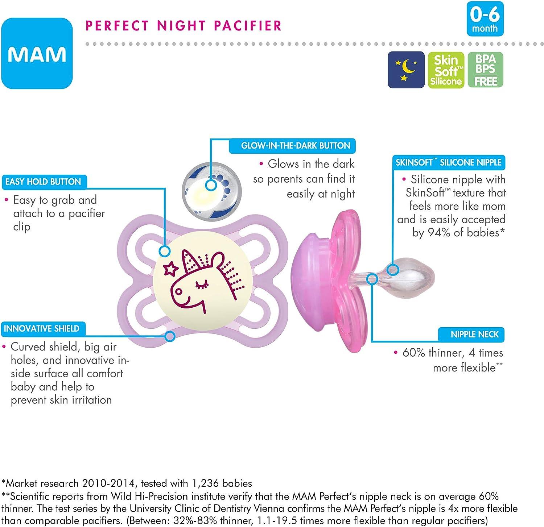 MAM Perfect Chupetes nocturnos, chupetes que brillan en la oscuridad (2 unidades) chupetes MAM de 0 a 6 meses, el mejor chupete para bebés lactantes, chupete unisex para bebé, verde y gris: