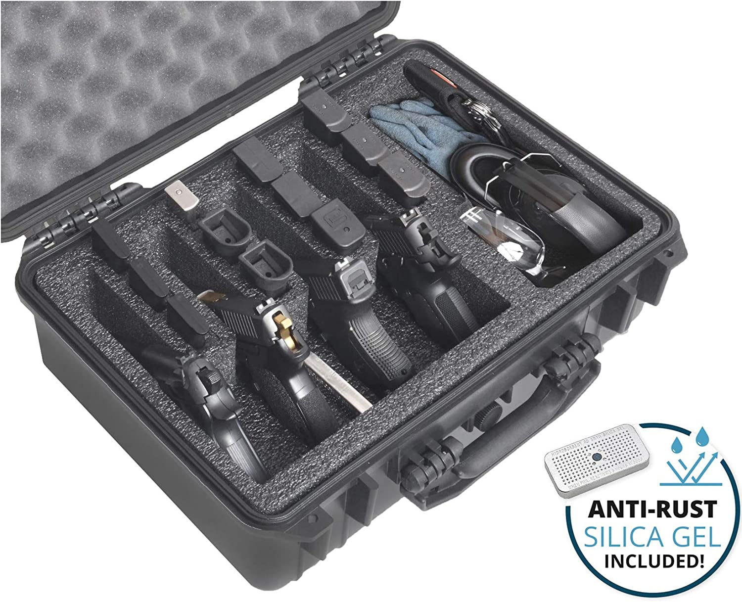 Case Club 4 Pistol and (up to) 29 Magazine with Accessory Pocket Pre-Cut Heavy Duty Waterproof Case with Silica Gel Canister to Help Prevent Gun Rust (Upgraded Gen-2)