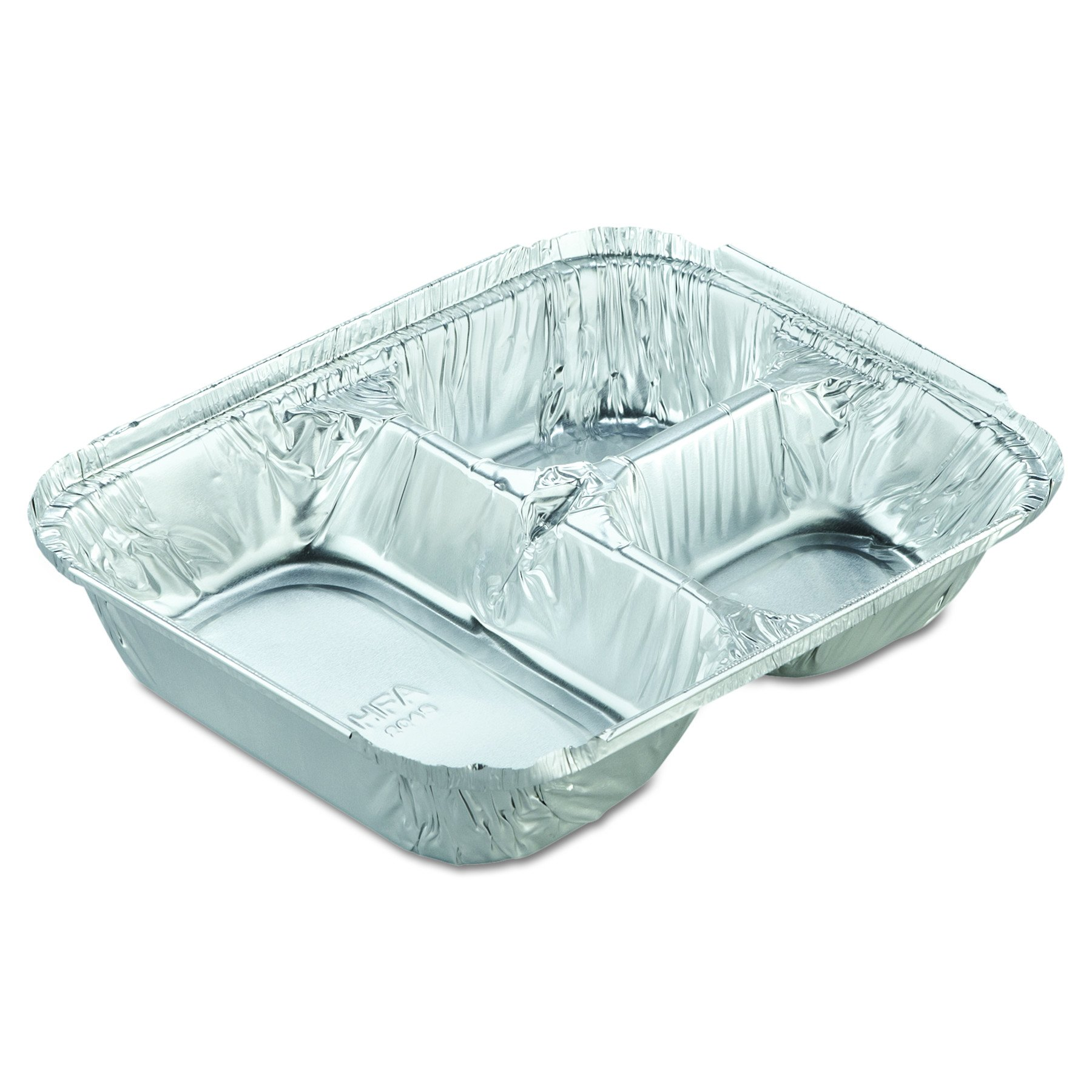Handi-Foil of America 204535250W Aluminum Oblong Container with Lid, 3-Compartment, 24 Oz Capacity, 8 1/2w x 6 3/8d x  1 15/32h (Case of 250)