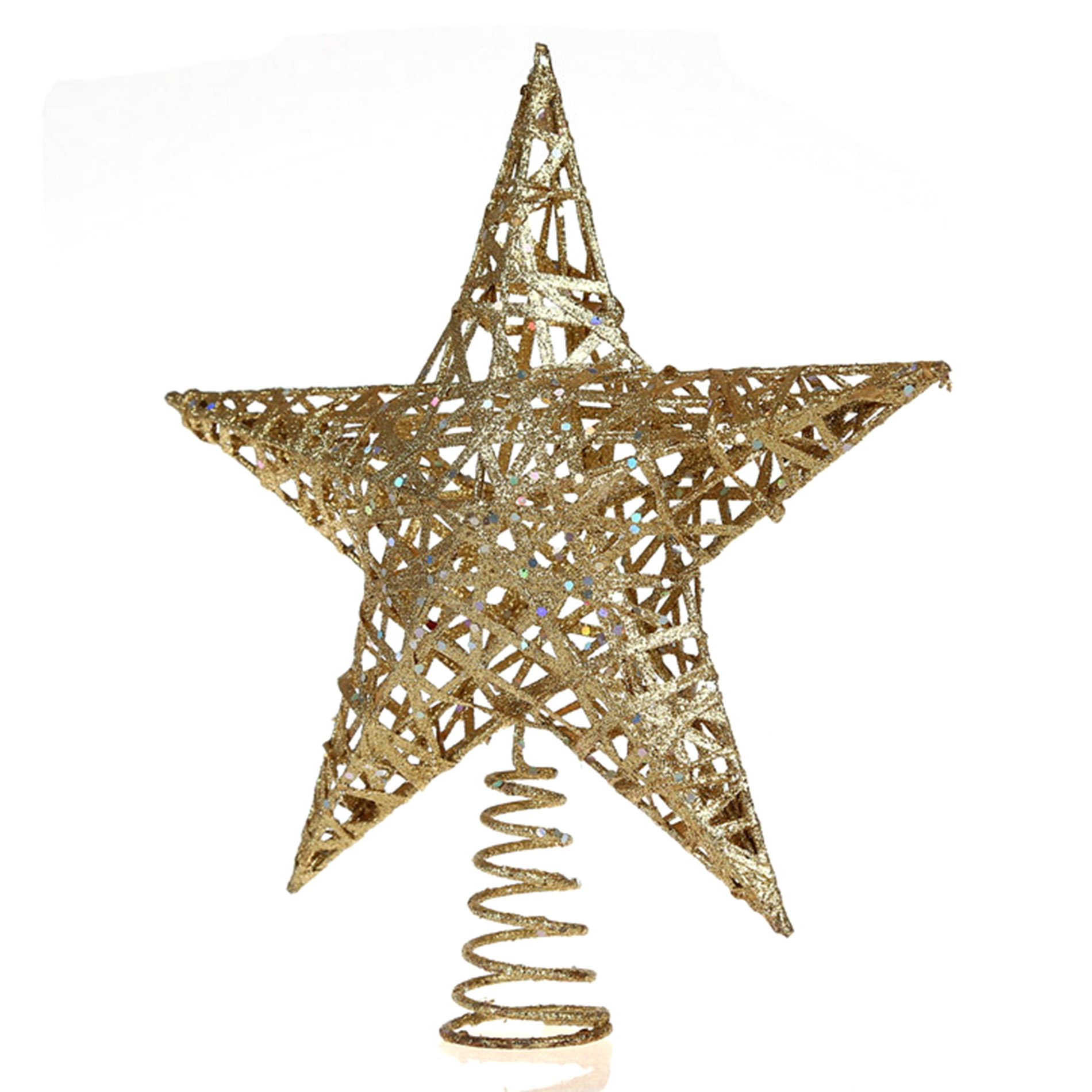 IDS Home 11.8-Inch (30cm) Elegant Gold Glitter Sparkle Swirl Christmas Tree Topper Star Ornaments Decoration