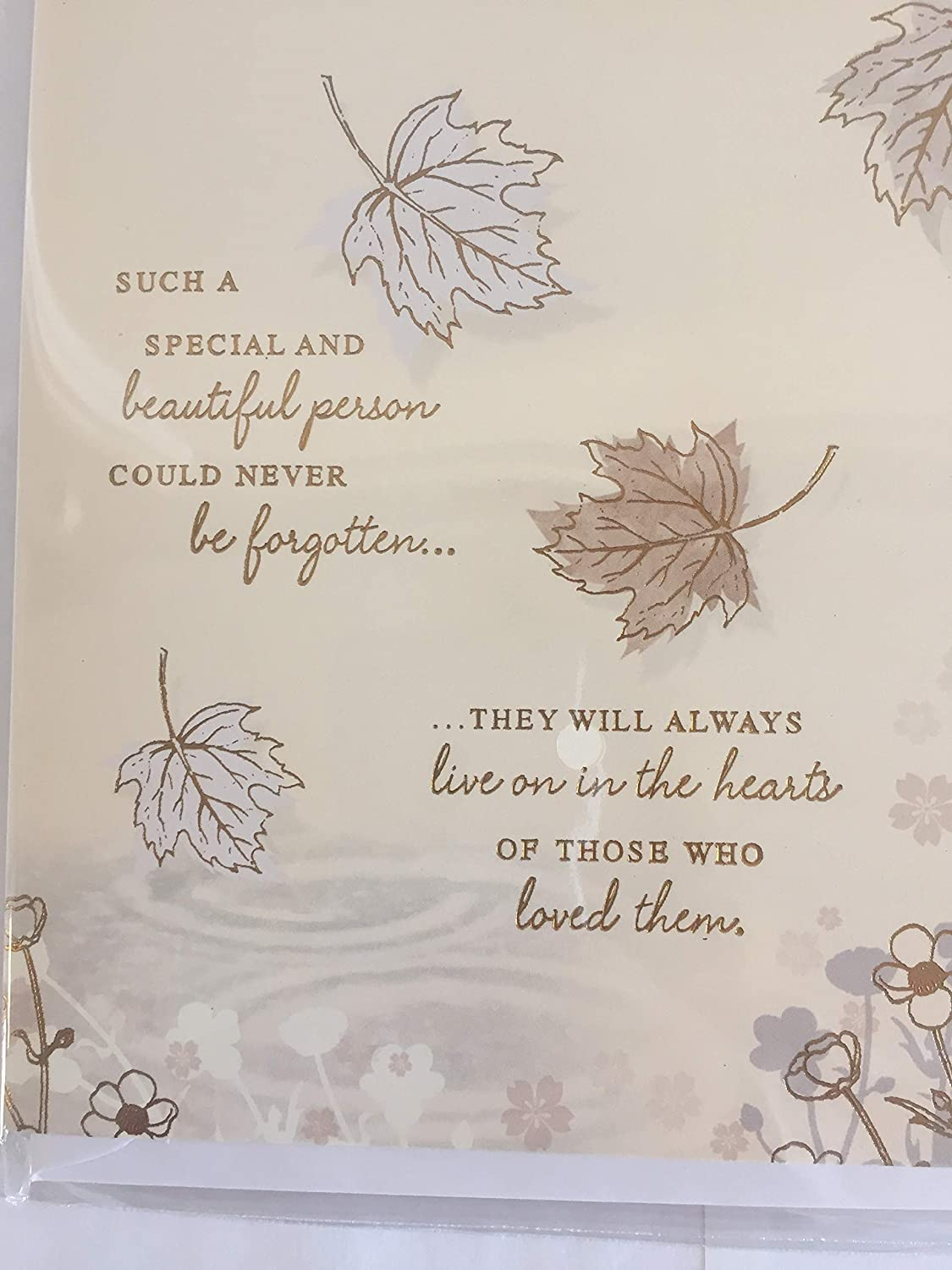 with Sympathy in The Loss of Your Partner Sympathy Card Condolence Cream//Brown//Gold Leaves//Words Foil Detail
